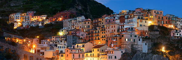 Photograph - Panoramic Manarola Buildings In Cinque Terre Night by Songquan Deng