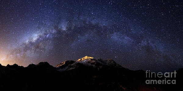Photograph - Panoramic Of Milky Way Above Mt Huayna Potosi Bolivia by James Brunker