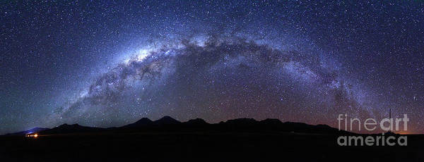 Photograph - Panoramic Of Milky Way Above Payachatas Volcanos by James Brunker