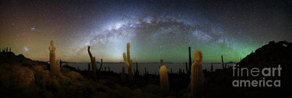 Photograph - Panoramic Of Milky Way And Incahuasi Island by James Brunker
