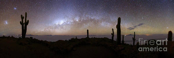 Photograph - Panoramic Of Milky Way And Salar De Uyuni From Summit Of Incahuasi Island by James Brunker