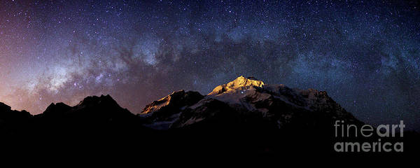 Photograph - Panoramic Of Milky Way Setting Above Mt Huayna Potosi Bolivia by James Brunker