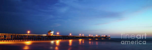 Clemente Photograph - Panoramic Photo Of San Clemente Pier At Sunset by Paul Velgos
