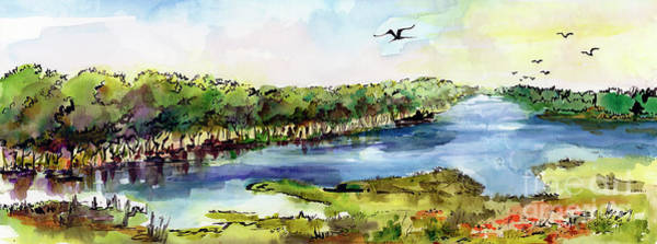 Painting - Panoramic River Landscape by Ginette Callaway