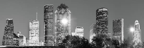 Photograph - Panoramic Skyline Of Houston Texas - Black And White by Gregory Ballos