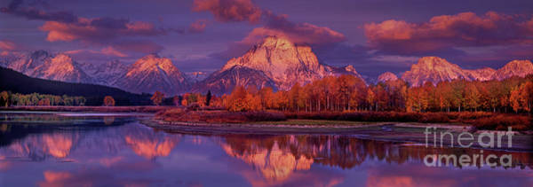Photograph - Panoramic Sunrise Oxbow Bend Grand Tetons National Park by Dave Welling