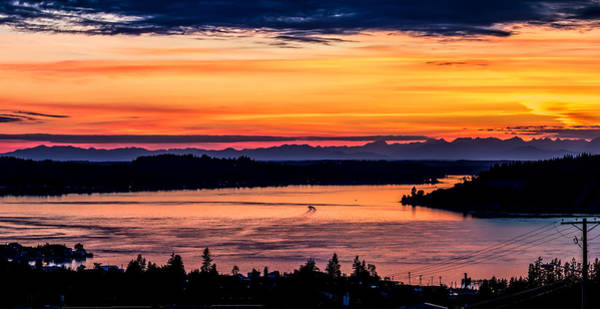Photograph - Panoramic Sunset Over Hail Passage E Series On The Puget Sound by Rob Green