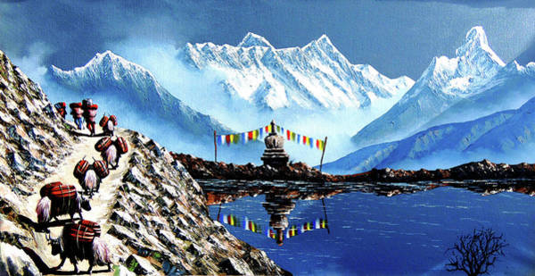 Yak Painting - Panoramic View Of Annapurna Mountain Nepal by Whimsy Art