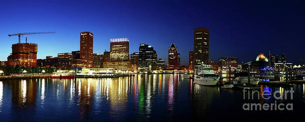 Photograph - Panoramic View Of Baltimore Inner Harbor Reflections At Twilight by James Brunker