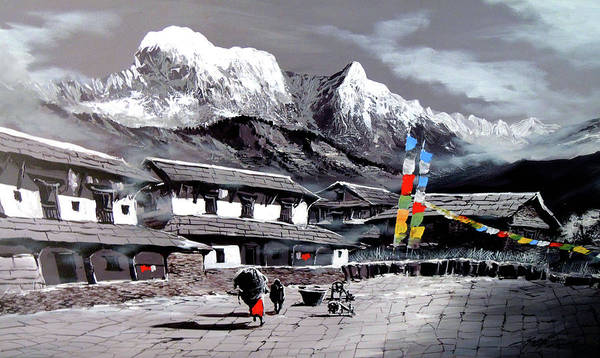 Yak Painting - Panoramic View Of Everest Base Camp by Whimsy Art