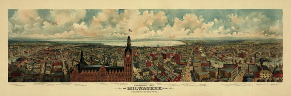 Wall Art - Painting - Panoramic View Of Milwaukee, Wisconsin, Taken From City Hall Tower by Antique map