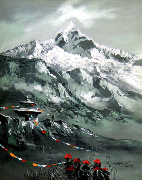 Yak Painting - Panoramic View Of Mountain Everest by Whimsy Art