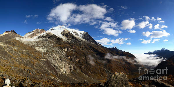 Photograph - Panoramic View Of Mt Huayna Potosi And Zongo Valley Bolivia by James Brunker