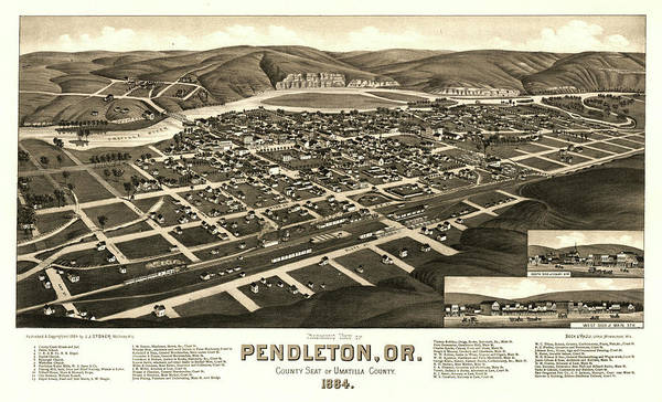 Wall Art - Painting - Panoramic View Of Pendleton, Or., County Seat Of Umatilla County 1884 by Henry Wellge