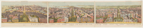 Drawing - Panoramic View Of The City Of Baltimore 1 by Edward Fielding