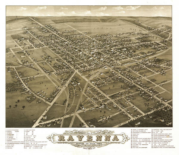 Wall Art - Painting - Panoramic View Of The City Of Ravenna, County Seat Of Portage Co. by Ruger