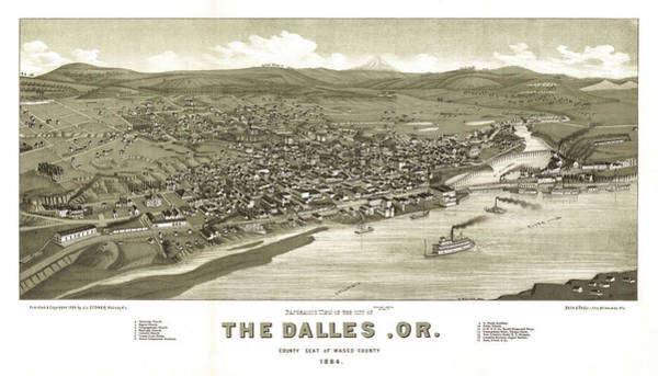 Wall Art - Painting - Panoramic View Of The City Of The Dalles, Or. County Seat Of Wasco County 1884 by Henry Wellge
