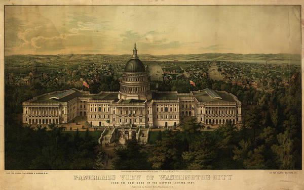 Wall Art - Painting - Panoramic View Of Washington City From The New Dome Of The Capitol, Looking East by Sachse