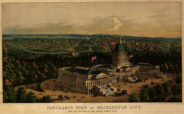 Wall Art - Painting - Panoramic View Of Washington City From The New Dome Of The Capitol, Looking West by Sachse
