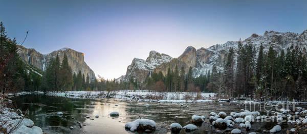 Photograph - Panoramic View Of Yosemite El Capital At Sunrise Fom Large Lake  by PorqueNo Studios