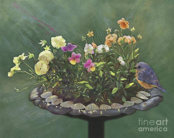 Wall Art - Painting - Pansies And Bluebird by Nancy Lee Moran