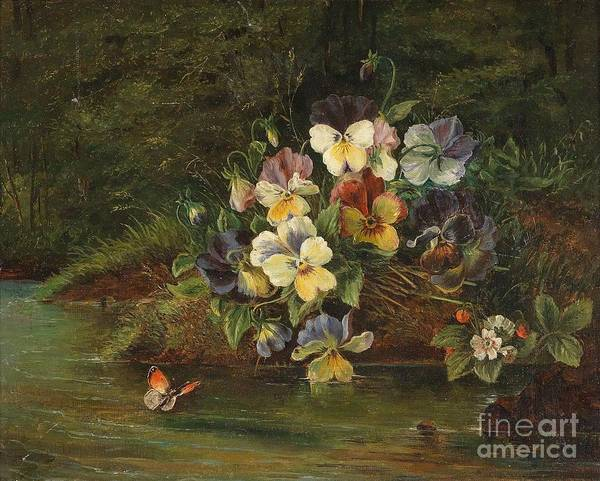 Painting - pansies and strawberries on Bach by Celestial Images