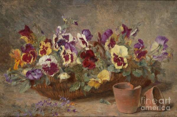 Jance Painting - Pansies In A Willow Basket by MotionAge Designs