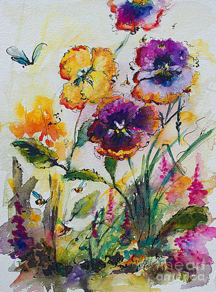 Painting - Pansies In My Garden Watercolor And Ink by Ginette Callaway