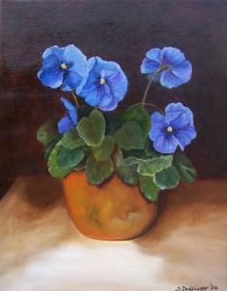 Painting - Pansies In Terracotta by Susan Dehlinger