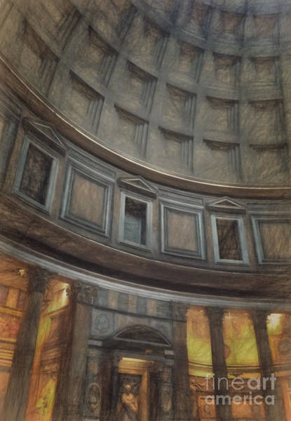 Ancient Architecture Digital Art - Pantheon Interior by HD Connelly