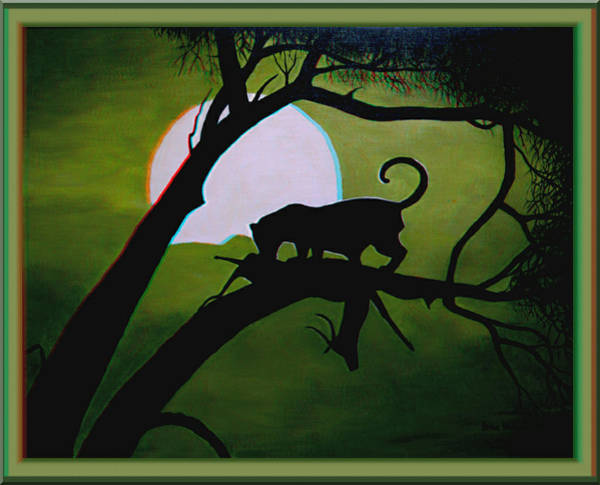 Anaglyph Photograph - Panther Silhouette - Use Red-cyan 3d Glasses by Brian Wallace