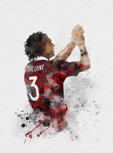 Italian Football Wall Art - Mixed Media - Paolo Maldini by My Inspiration