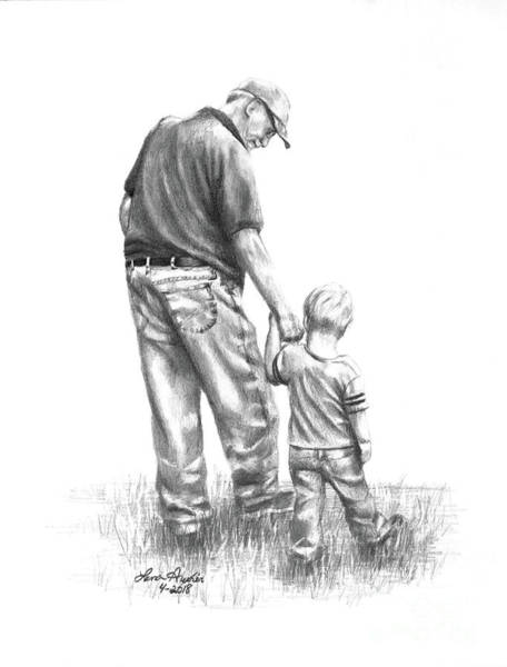 Hand Drawn Drawing - Papaw And His Sidekick by Lena Auxier