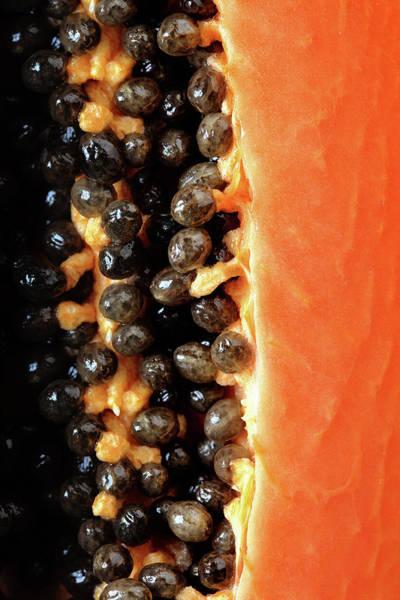 Inside Photograph - Papaya Fruit Halved Macro by Johan Swanepoel