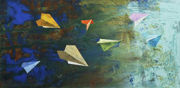 Avi Painting - Paper Airplanes by Michael Creese