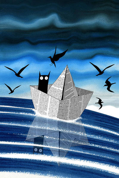 Boats Digital Art - Paper Boat  by Andrew Hitchen