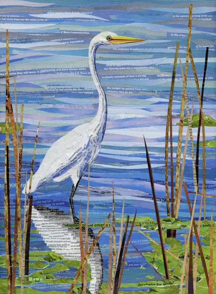 Heron Mixed Media - Paper Crane by Shawna Rowe