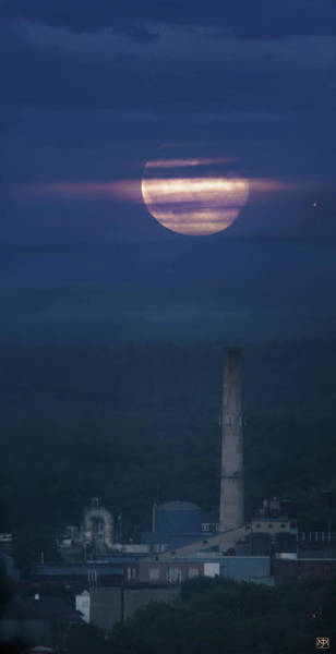 Photograph - Paper Mill Moon 2 by John Meader
