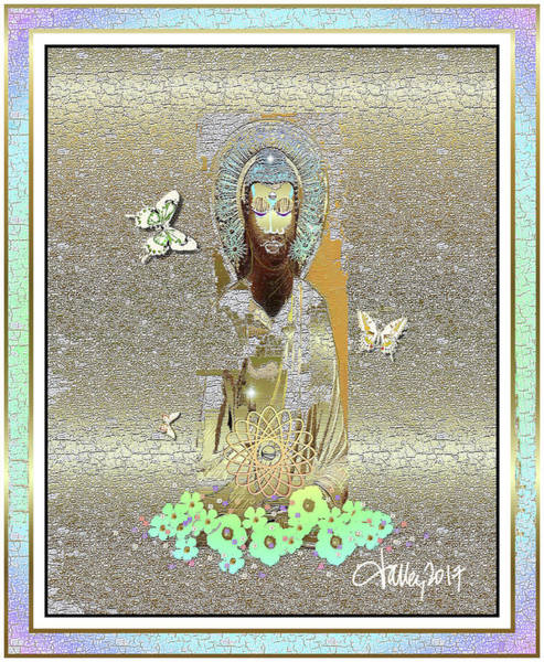 Mixed Media - Blissful Butterfly Buddha by Larry Talley