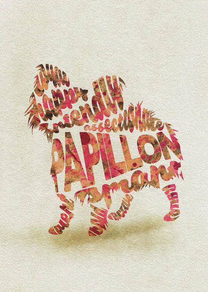 Painting - Papillon Dog Watercolor Painting / Typographic Art by Inspirowl Design