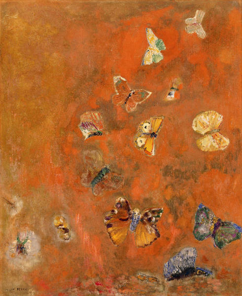 Wall Art - Painting - Papillons by Odilon Redon