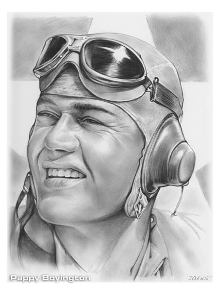 Hero Wall Art - Drawing - Pappy Boyington by Greg Joens