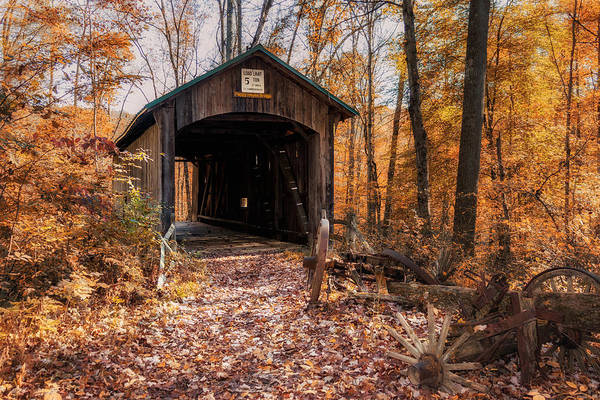 Orange Wood Photograph - Pappy Hayes Covered Bridge by Tom Mc Nemar
