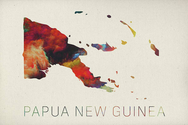 Png Wall Art - Mixed Media - Papua New Guinea Watercolor Map by Design Turnpike