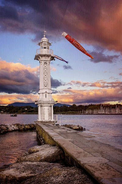 Lemans Wall Art - Photograph - Paquis Lighthouse Geneva Switzerland  by Carol Japp