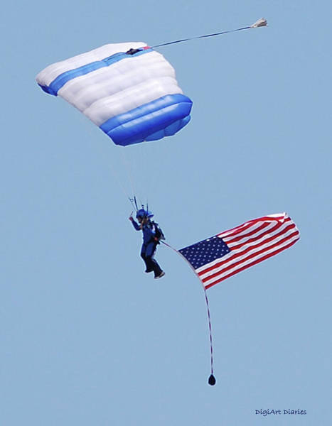 New Smyrna Beach Digital Art - Parachutist With American Flag by DigiArt Diaries by Vicky B Fuller
