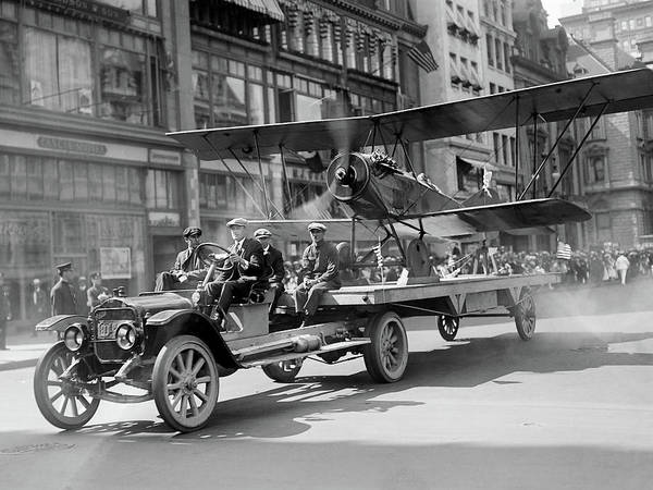 Photograph - Parade Truck And Biplane Bw by David King