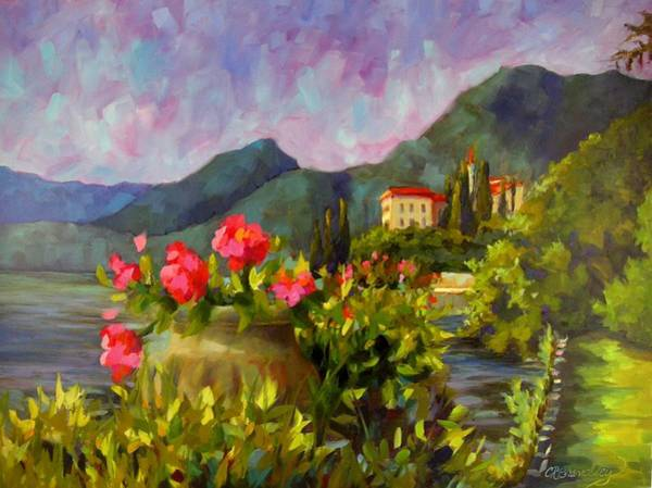 Lake Como Painting - Paradise Awaits by Chris Brandley