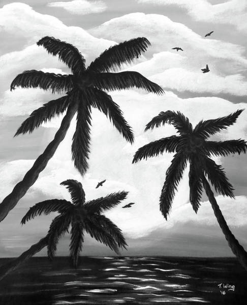 Painting - Paradise In Black And White by Teresa Wing