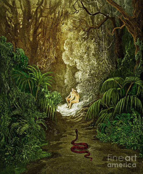 Wall Art - Painting - Paradise Lost, By Milton The Serpent Approaches Adam And Eve by Gustave Dore